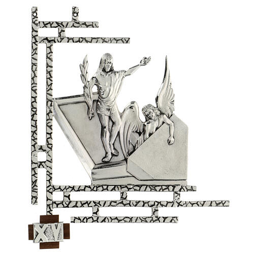 Way of the cross, 15 stations 33x40cm in silver brass 15