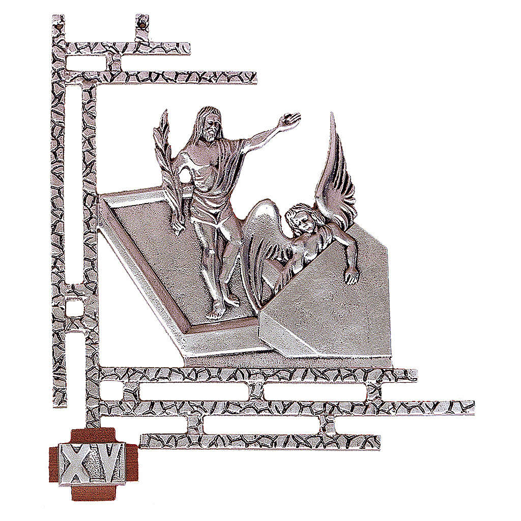Chemin croix laiton argenté 15 stations 33x40 cm 4