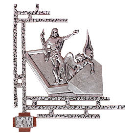 Chemin croix laiton argenté 15 stations 33x40 cm s1