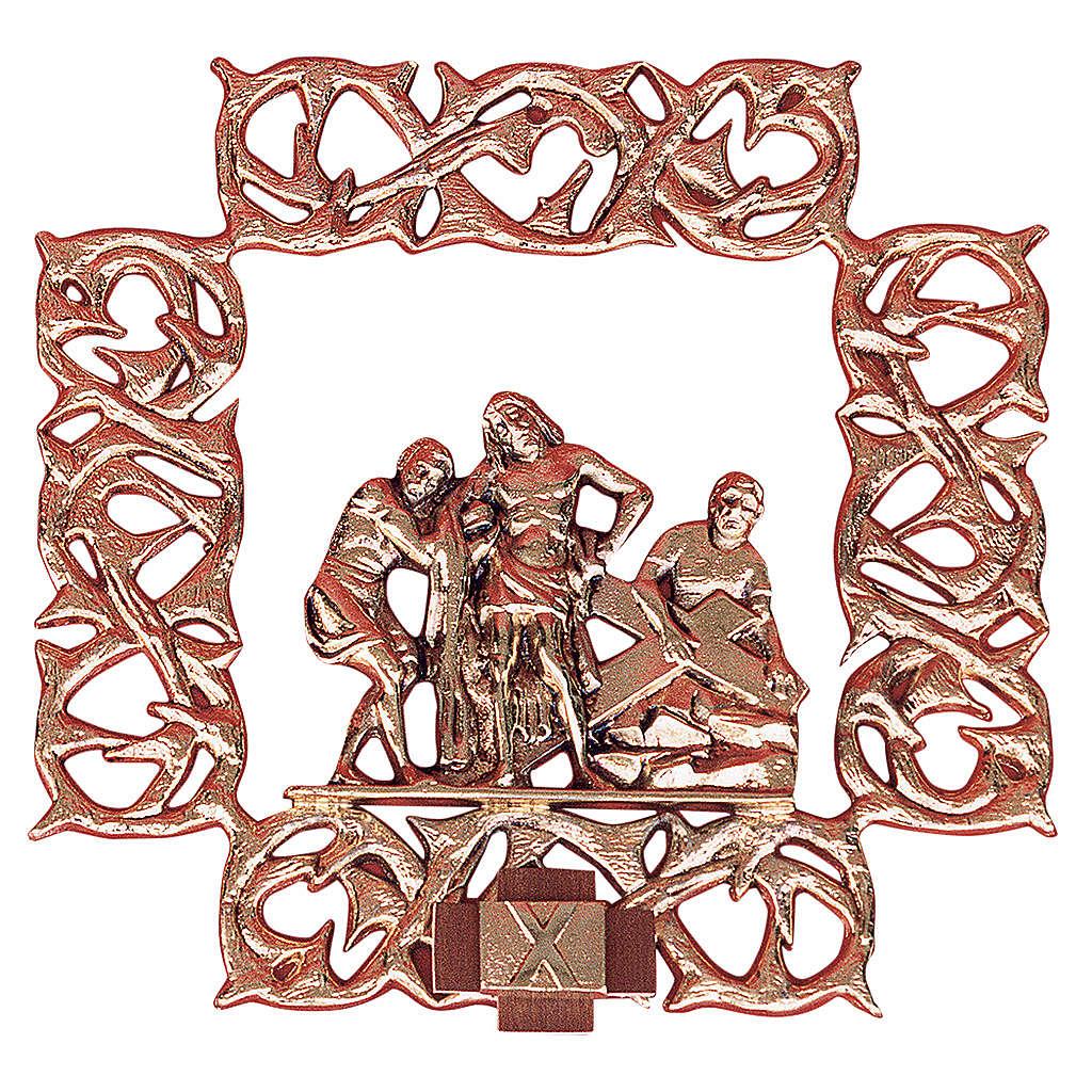 Chemin croix laiton cuivré 15 stations 30x30 cm 4