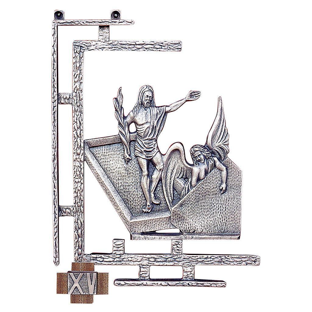 Chemin croix 15 stations 30x23 cm laiton argent 4