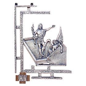 Chemin croix 15 stations 30x23 cm laiton argent s1