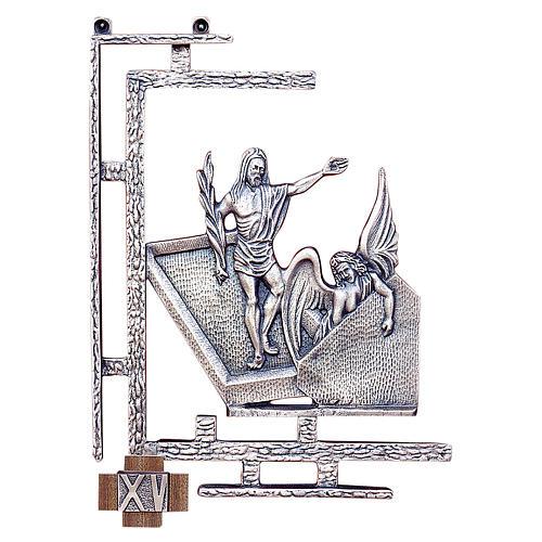 Chemin croix 15 stations 30x23 cm laiton argent 1
