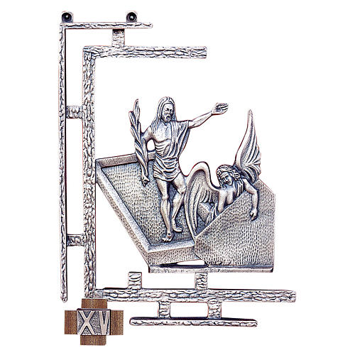 Stations of the Cross, 15 stations 30x23cm in silver brass 1