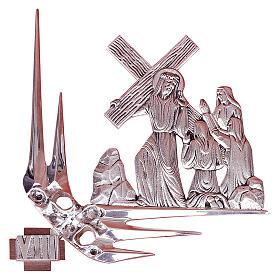 Via Crucis 15 stazioni 32x34 cm ottone argento s1
