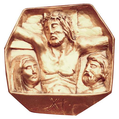 Chemin croix laiton doré 15 stations 34x34 cm 1
