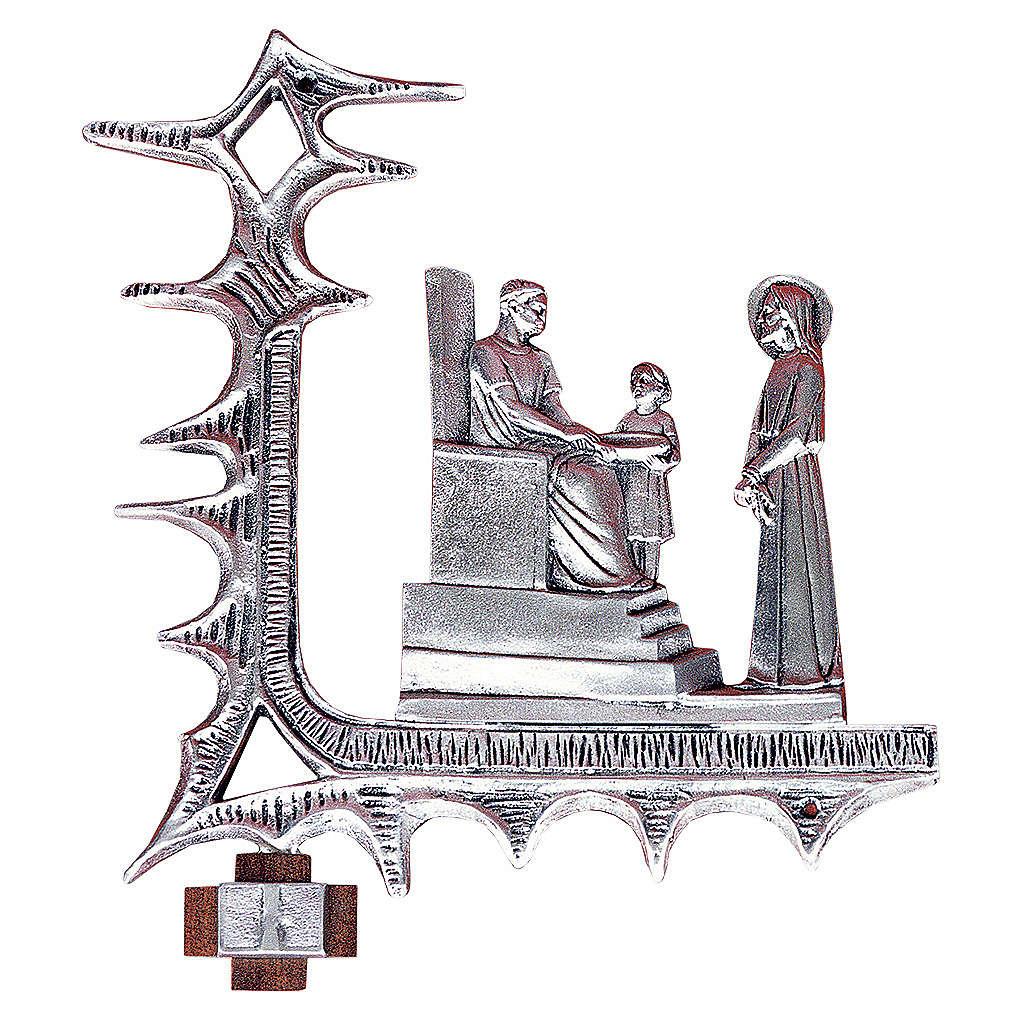 Chemin croix laiton argenté 15 stations 30x27 cm 4
