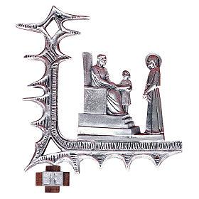 Chemin croix laiton argenté 15 stations 30x27 cm s1