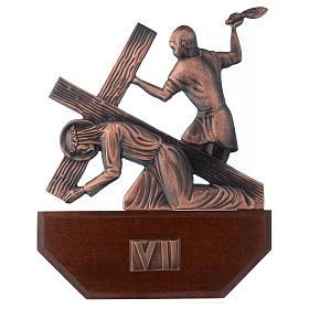 Vía Crucis latón cobreado en madera 15 estaciones 24 x 30 cm s7