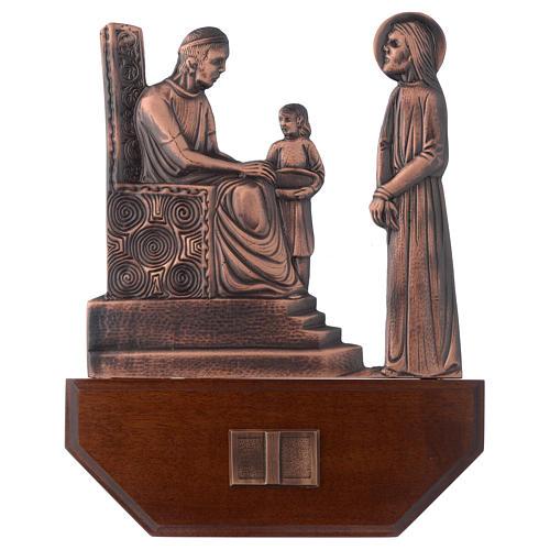 Vía Crucis latón cobreado en madera 15 estaciones 24 x 30 cm 1