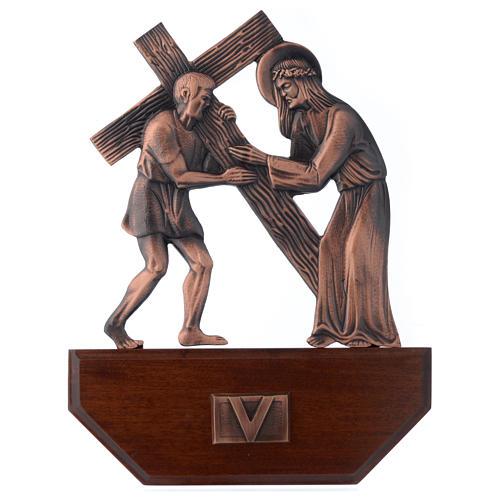 Vía Crucis latón cobreado en madera 15 estaciones 24 x 30 cm 5