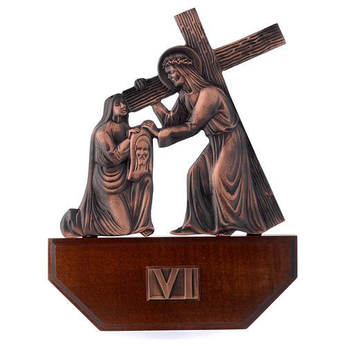 Vía Crucis latón cobreado en madera 15 estaciones 24 x 30 cm 6