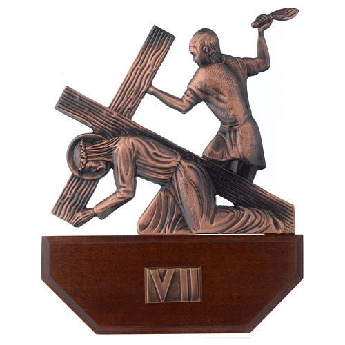 Vía Crucis latón cobreado en madera 15 estaciones 24 x 30 cm 7