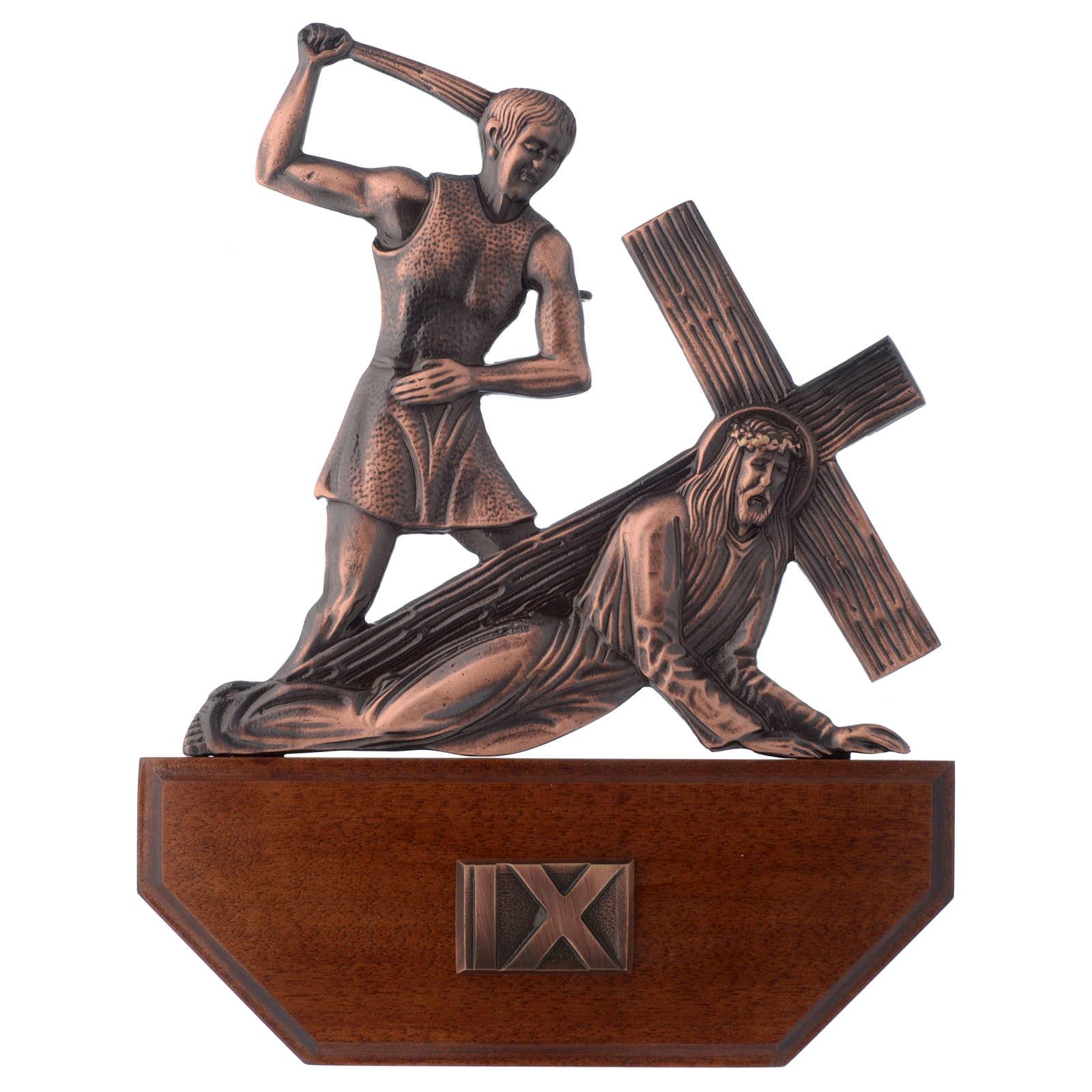 Chemin croix laiton cuivré sur bois 15 stations 24x30 cm 4