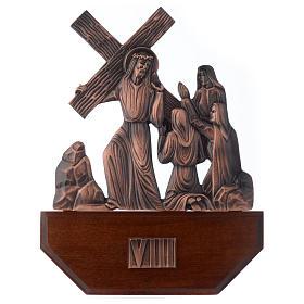 Chemin croix laiton cuivré sur bois 15 stations 24x30 cm s8