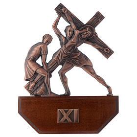 Chemin croix laiton cuivré sur bois 15 stations 24x30 cm s11