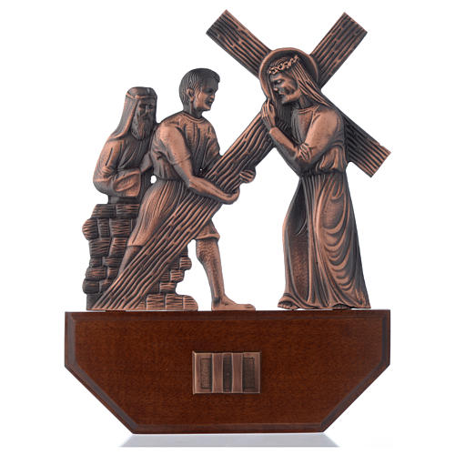 Chemin croix laiton cuivré sur bois 15 stations 24x30 cm 2
