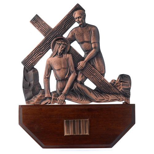 Chemin croix laiton cuivré sur bois 15 stations 24x30 cm 3