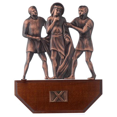 Chemin croix laiton cuivré sur bois 15 stations 24x30 cm 10