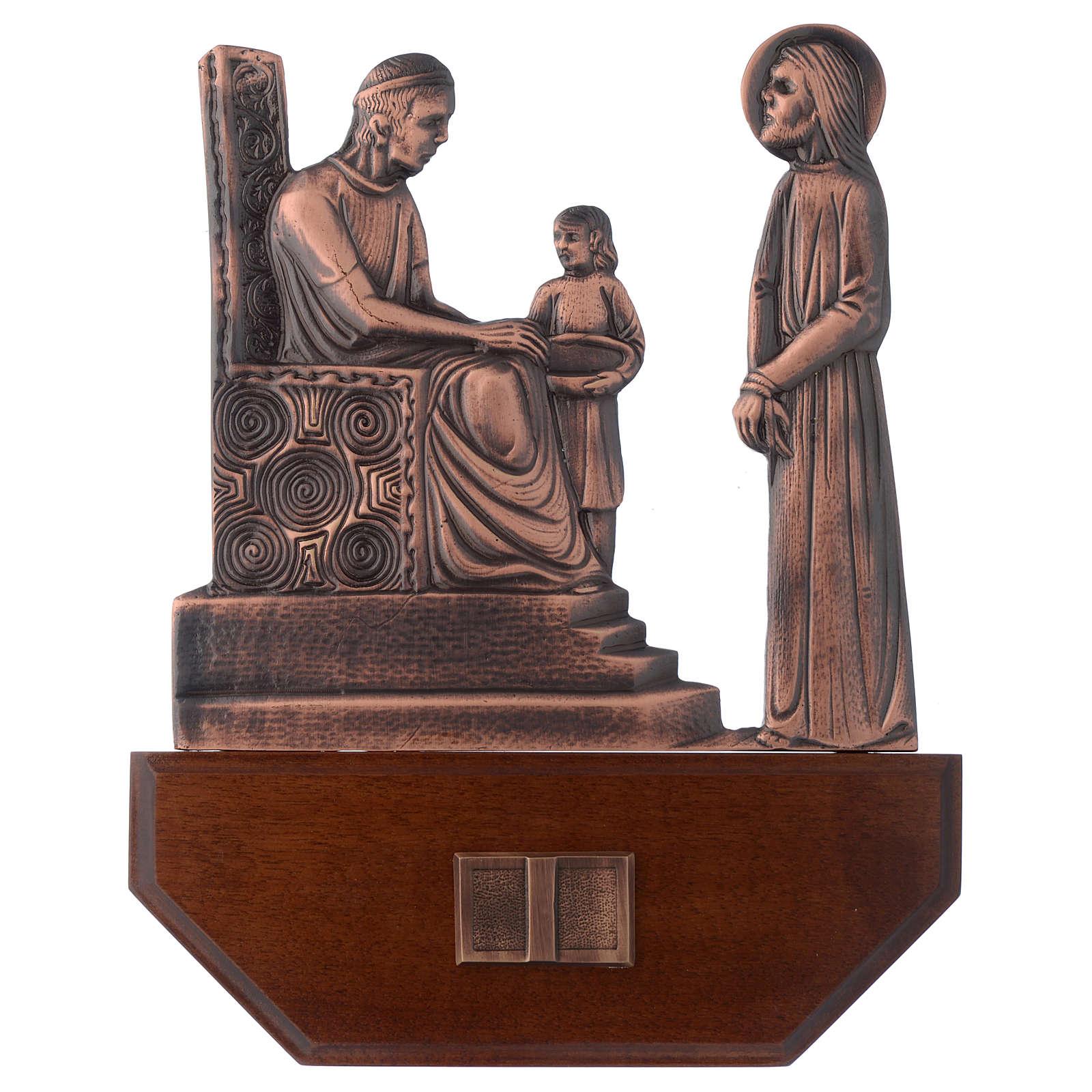 Via Crucis ottone ramato su legno 15 stazioni 24x30 cm 4