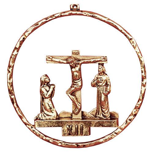 Chemin croix 15 stations diamètre 22 cm laiton doré 1
