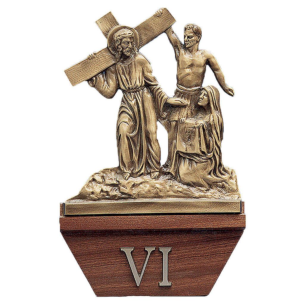 Via Crucis 15 stazioni 24x42 cm legno ottone dorato 4