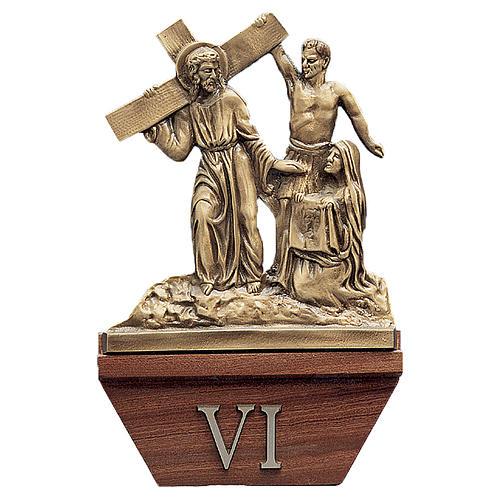 Via Crucis 15 stazioni 24x42 cm legno ottone dorato 1