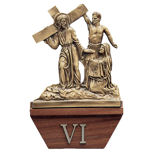 15 Stations of the Cross, 24x42cm in wood and golden brass 1