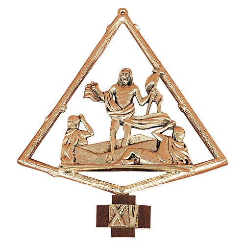 Via Crucis ottone dorato 15 stazioni 22x25 cm 1