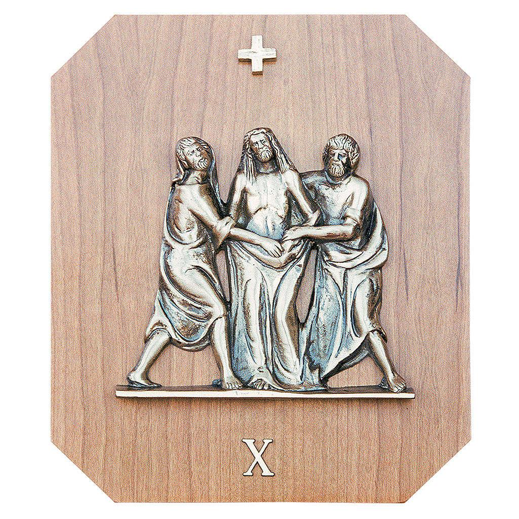 Chemin croix laiton or bois acajou 15 stations 23x28 cm 4