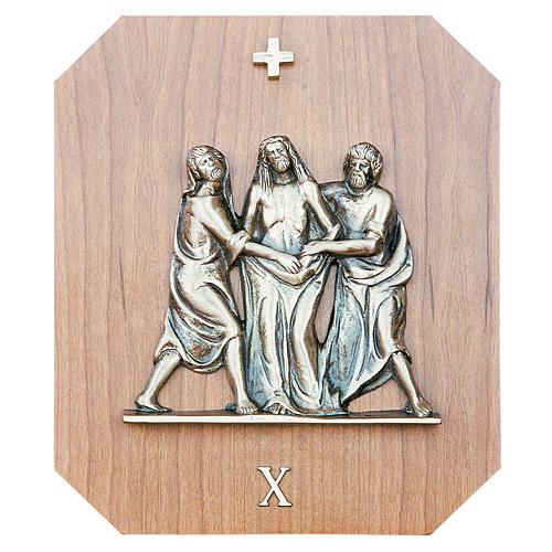 Chemin croix laiton or bois acajou 15 stations 23x28 cm 1