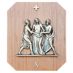 Via Crucis ottone oro legno mogano 15 stazioni 23x28 cm s1