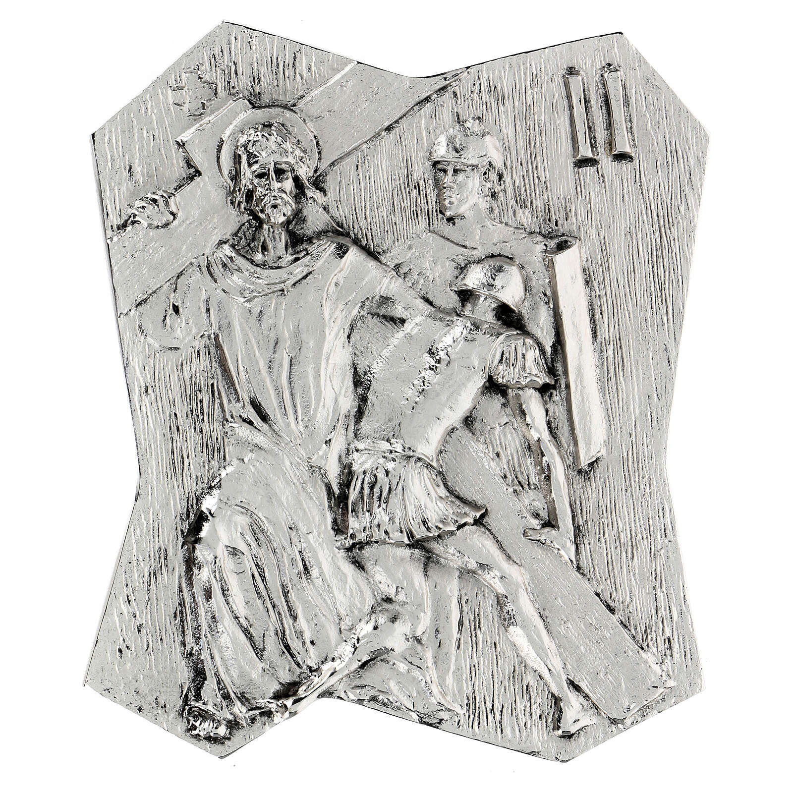 Via Crucis silver-plated brass 14 stations, 22x18cm 4