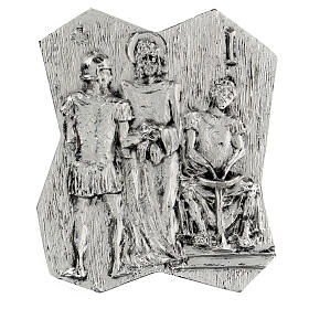 Via Crucis silver-plated brass 14 stations, 22x18cm s1