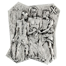 Via Crucis silver-plated brass 14 stations, 22x18cm s10