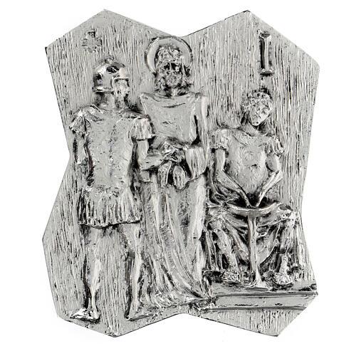 Via Crucis silver-plated brass 14 stations, 22x18cm 1
