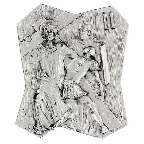 Via Crucis silver-plated brass 14 stations, 22x18cm 2
