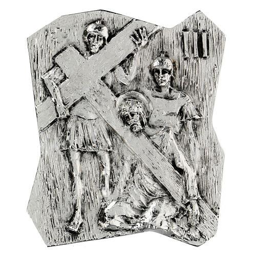 Via Crucis silver-plated brass 14 stations, 22x18cm 3