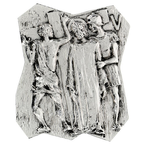 Via Crucis silver-plated brass 14 stations, 22x18cm 5