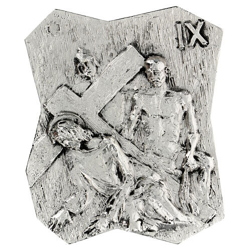 Via Crucis silver-plated brass 14 stations, 22x18cm 9