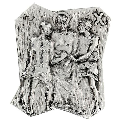 Via Crucis silver-plated brass 14 stations, 22x18cm 10