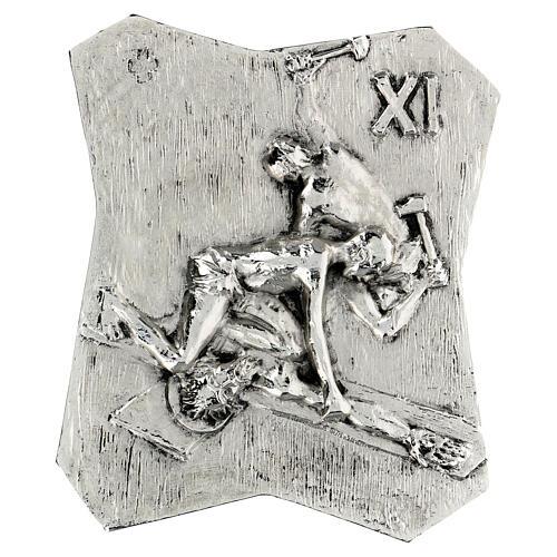 Via Crucis silver-plated brass 14 stations, 22x18cm 11