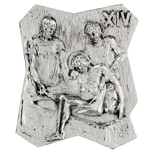 Via Crucis silver-plated brass 14 stations, 22x18cm 14