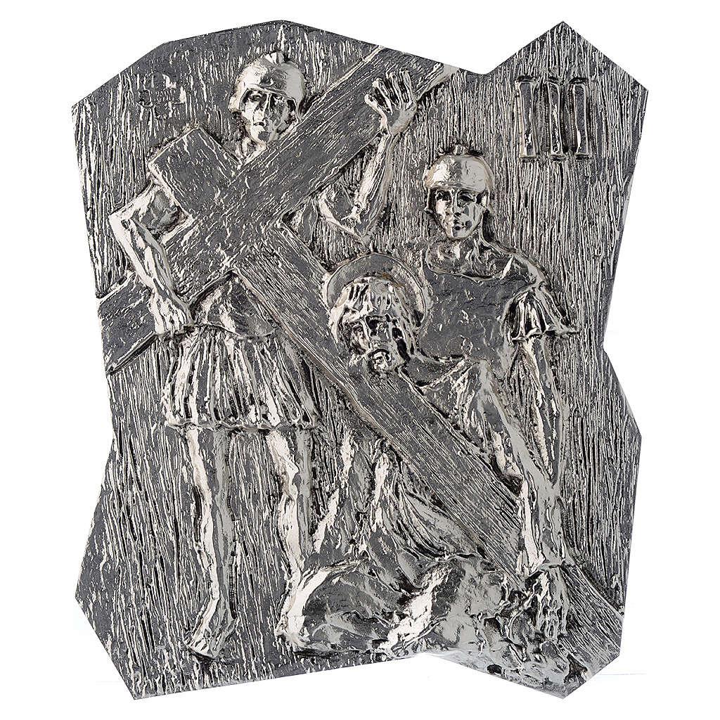 Chemin croix laiton argenté 14 stations 22x18 cm 4