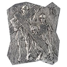Chemin croix laiton argenté 14 stations 22x18 cm s3