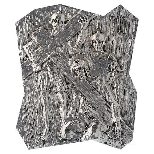 Chemin croix laiton argenté 14 stations 22x18 cm 3