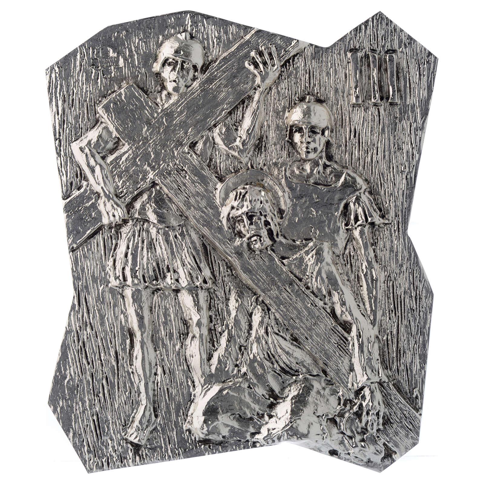 Via Crucis ottone argentato 14 stazioni 22x18 cm 4
