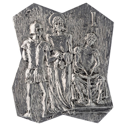 Via Crucis ottone argentato 14 stazioni 22x18 cm 1