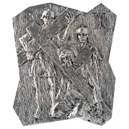 Via Crucis ottone argentato 14 stazioni 22x18 cm 3