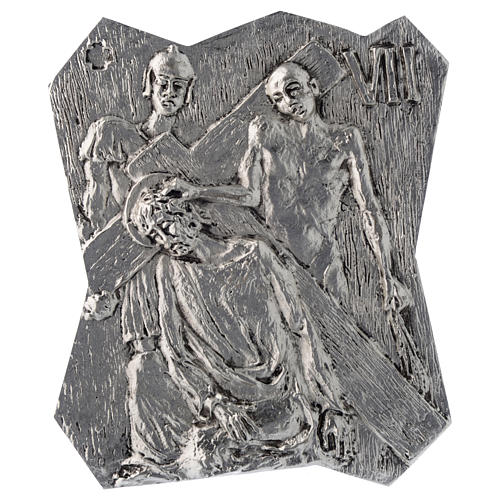 Via Crucis silver-plated brass 14 stations, 22x18cm 7